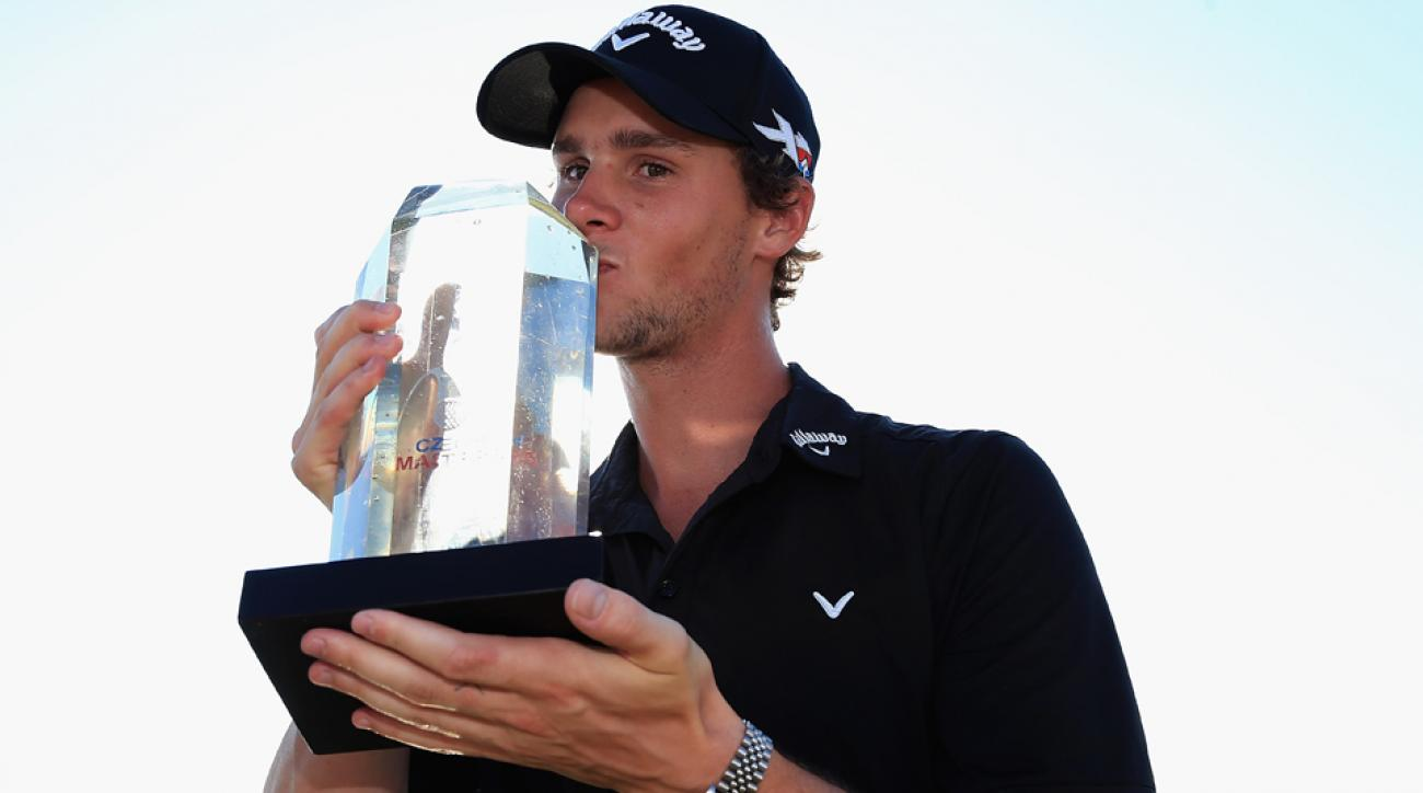 Thomas Pieters celebrates after winning the D+D Real Czech Masters at the Albatross Golf Resort on Aug. 30, 2015, in Prague, Czech Republic.