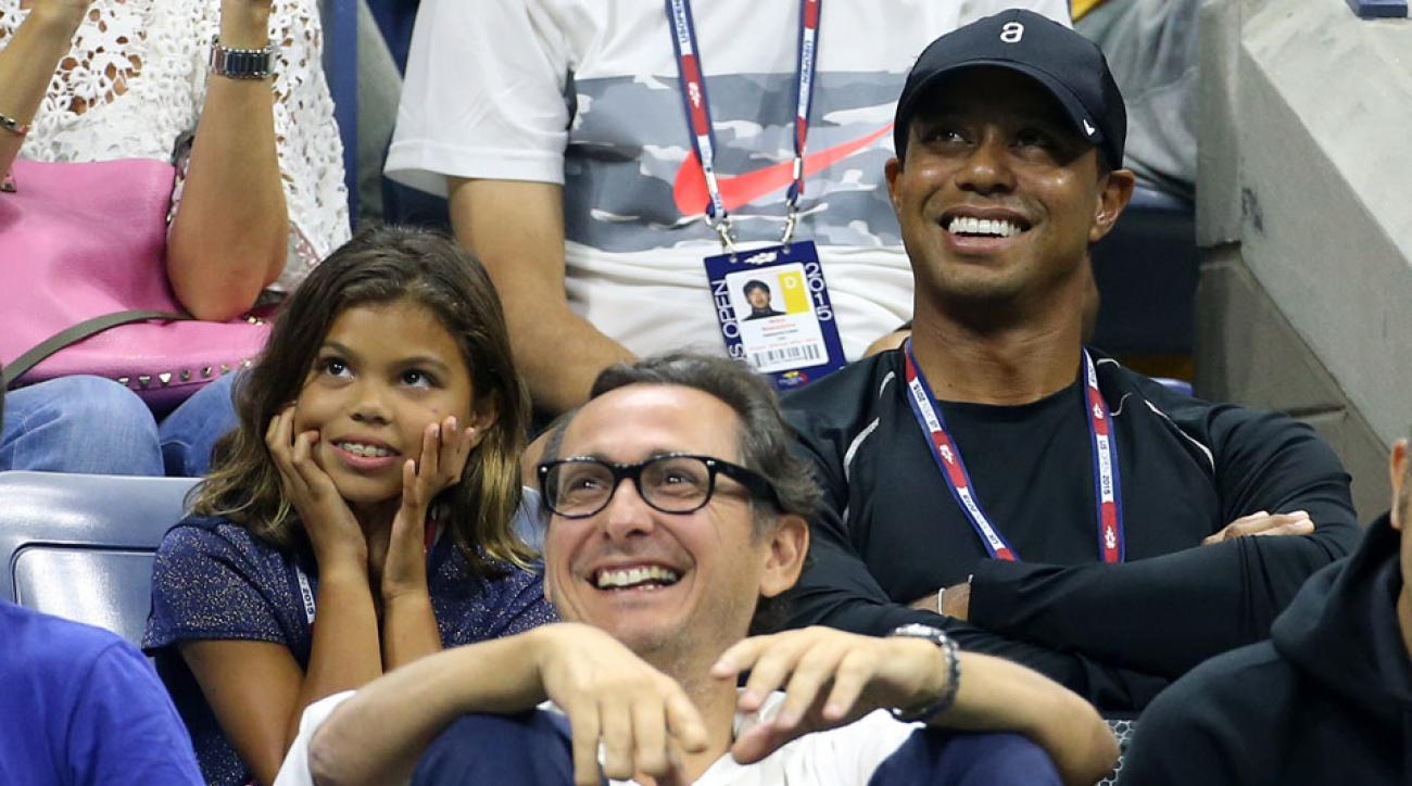 Tiger Woods and his daughter Sam watch a third-round match at the 2015 U.S. Open.