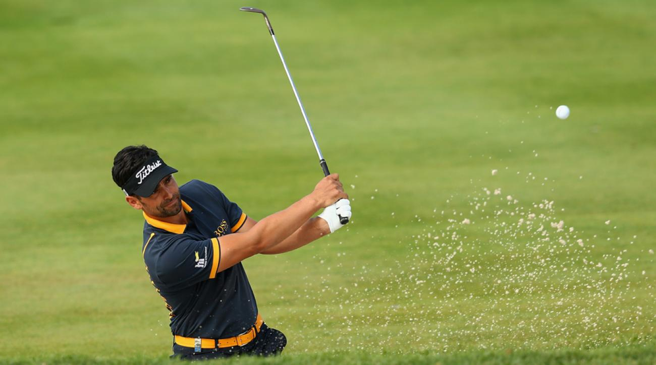 Lee Slattery plays his third shot out of a bunker on the 8th hole during the final round of the M2M Russian Open at Skolkovo Golf Club on Sept. 6, 2015, in Moscow, Russia.