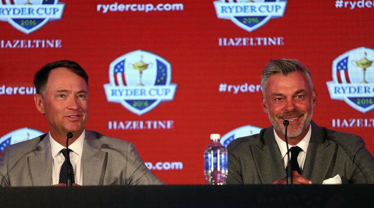 2016 Ryder Cup captains Davis Love III (left) and Darren Clarke address the media during the Ryder Cup Captains' Press Conference at Hazeltine National Golf Club on Sept. 29, 2015, in Chaska, Minnesota.