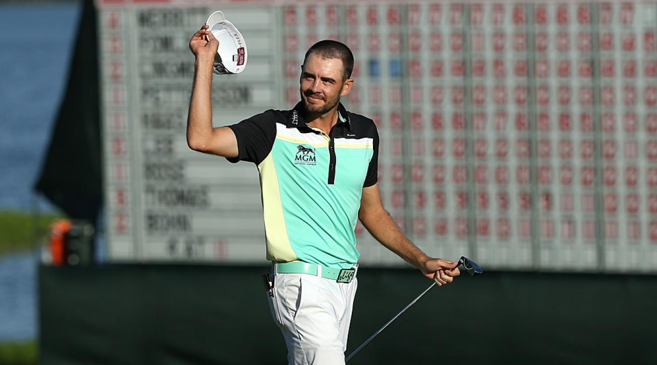 Troy Merritt salutes the crowd after winning the 2015 Quicken Loans National.
