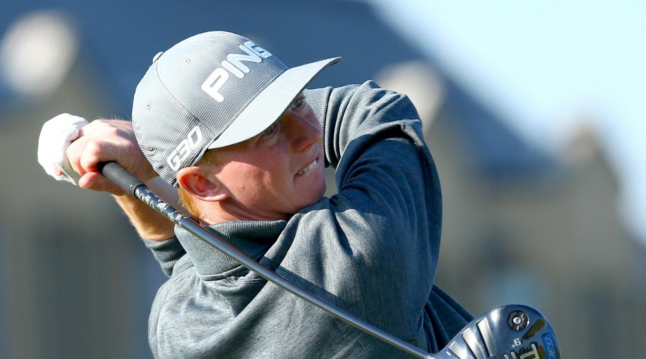 Jimmy Mullen tees off on the 18th hole during the second round of the 2015 Alfred Dunhill Links Championship.