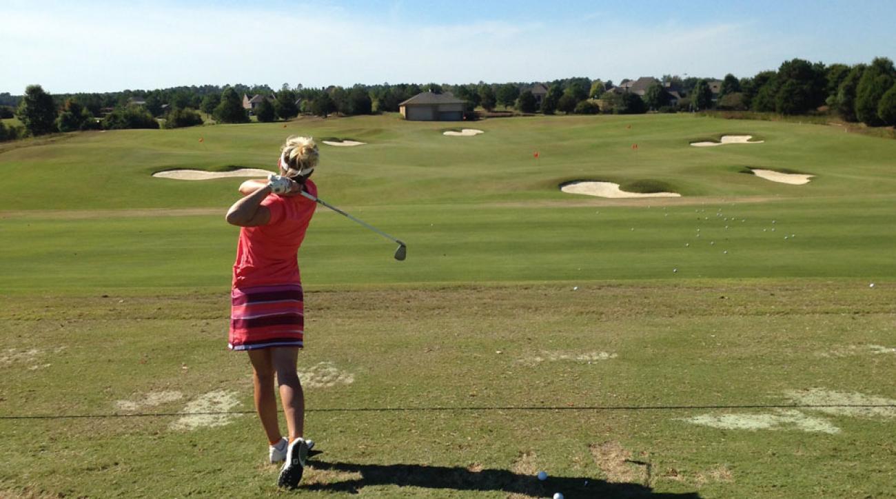 Jessica Marksbury on the practice range prior to the start of the U.S. Women's Mid-Amateur.