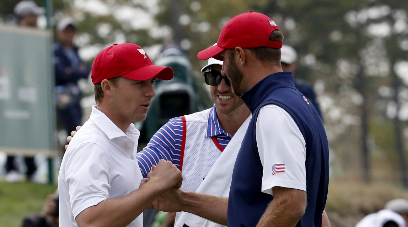 Dustin Johnson, right, and teammate Jordan Spieth at the Presidents Cup.