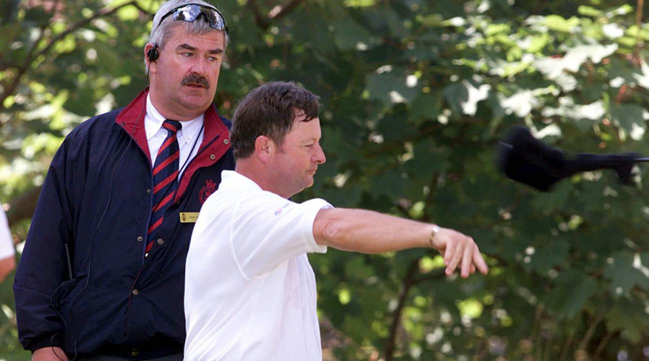 Ian Woosnam flings his second driver into the woods at the 2011 British Open.