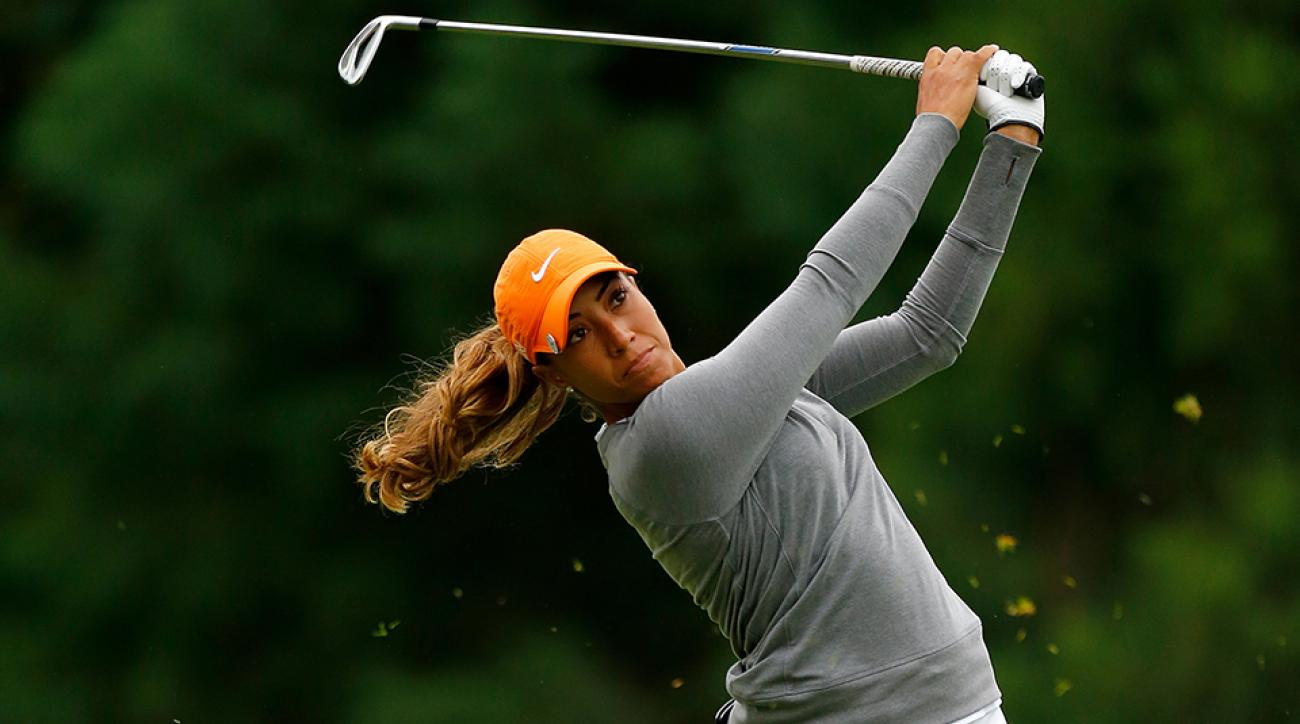 Cheyenne Woods tees off on the 2nd hole during the second round of the LPGA Cambia Portland Classic at Columbia Edgewater Country Club on August 14, 2015 in Portland, Oregon