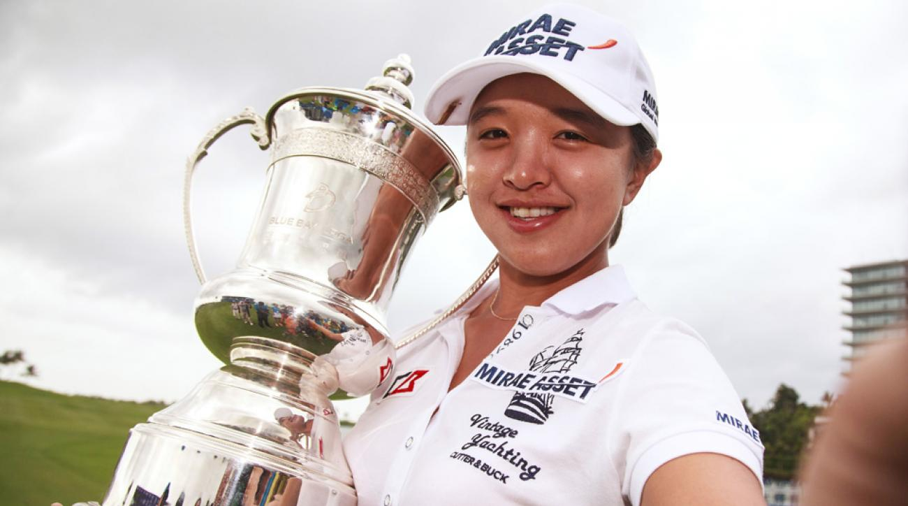 Sei Young Kim poses with the trophy after she won the Blue Bay LPGA 2015 at Jian Lake Blue Bay on Nov. 1, 2015, in Hainan Island, China.