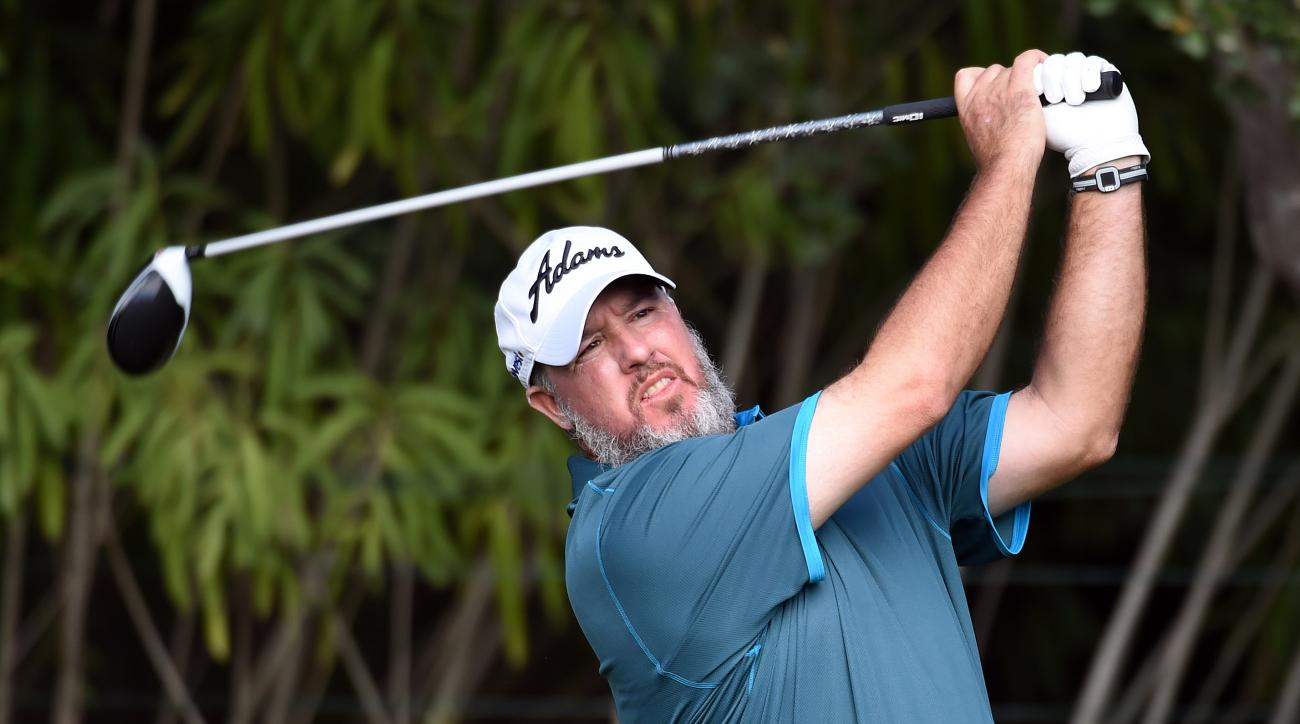 Boo Weekley tees off on the fifth hole during the opening round of the Frys.com Open.
