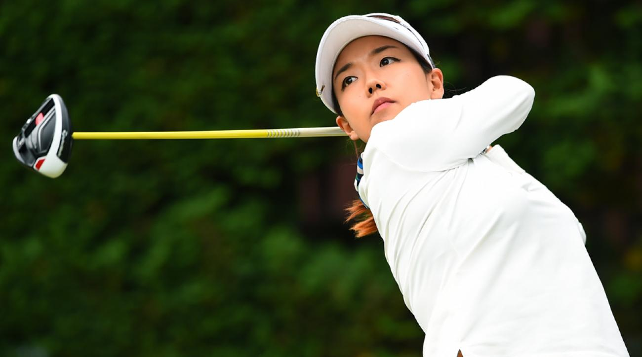 Jenny Shin of South Korea hits her tee shot on the 14th hole during the second round of the TOTO Japan Classics 2015 at the Kintetsu Kashikojima Country Club on Saturday, Nov. 7, 2015, in Shima, Japan.