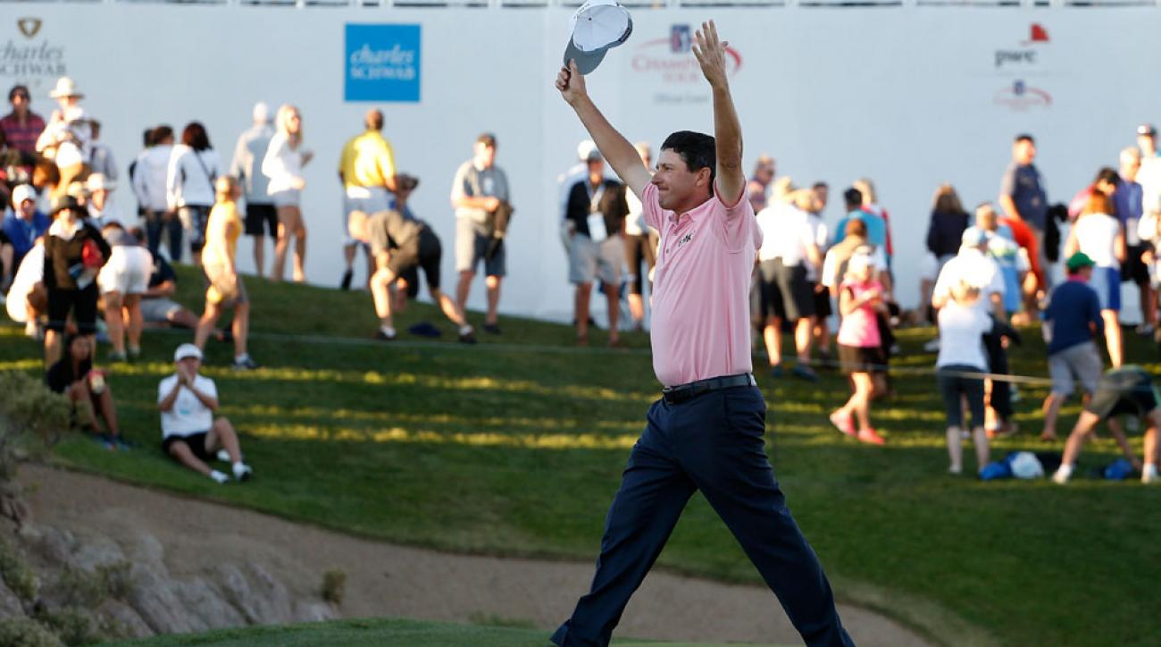 Billy Andrade celebrates after defeating  Bernhard Langer on the first playoff hole to win the Charles Schwab Cup Championship on the Cochise Course at The Desert Mountain Club on Sunday, Nov. 8, 2015, in Scottsdale, Arizona.