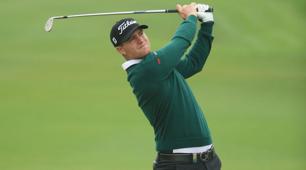 Lucas Bjerregaard plays his second shot on the eighth hole during the second round of the BMW Masters.