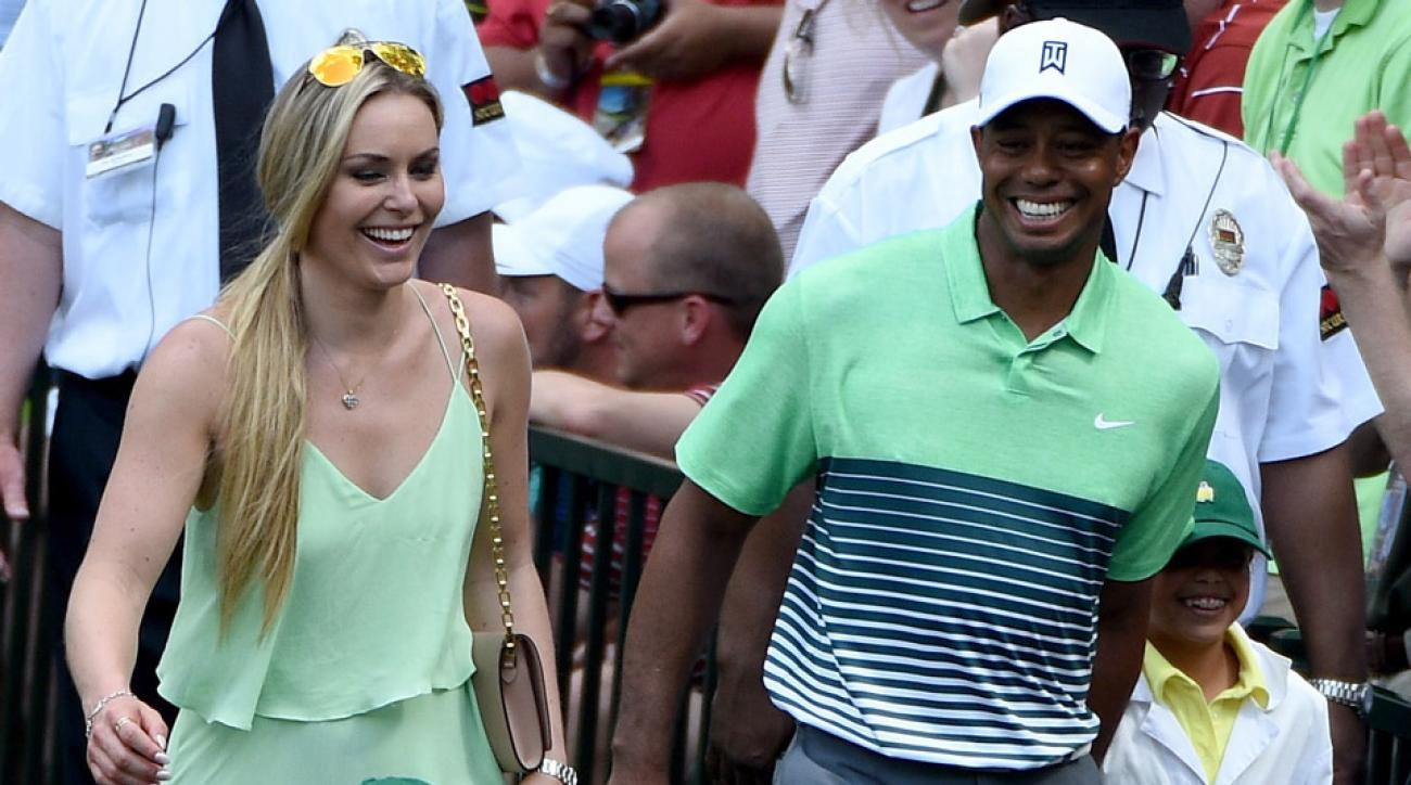 Lindsey Vonn and Tiger Woods at the Par-3 Contest before the 2015 Masters.