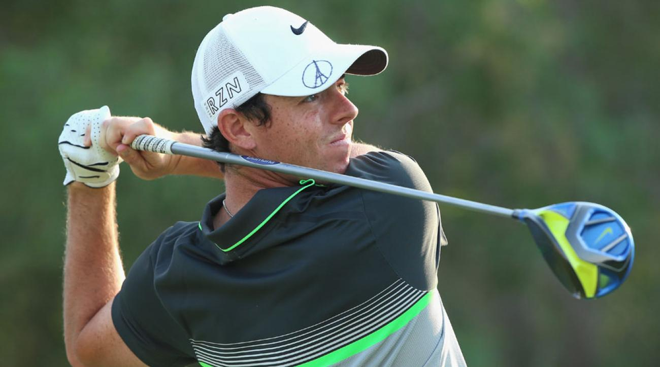 Rory McIlroy tees off on the second hole during the second round of the World Tour Championship in Dubai.