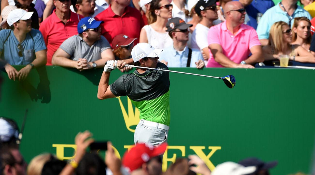 Rory McIlroy tees off on the ninth hole during the third round of the World Tour Championship in Dubai.