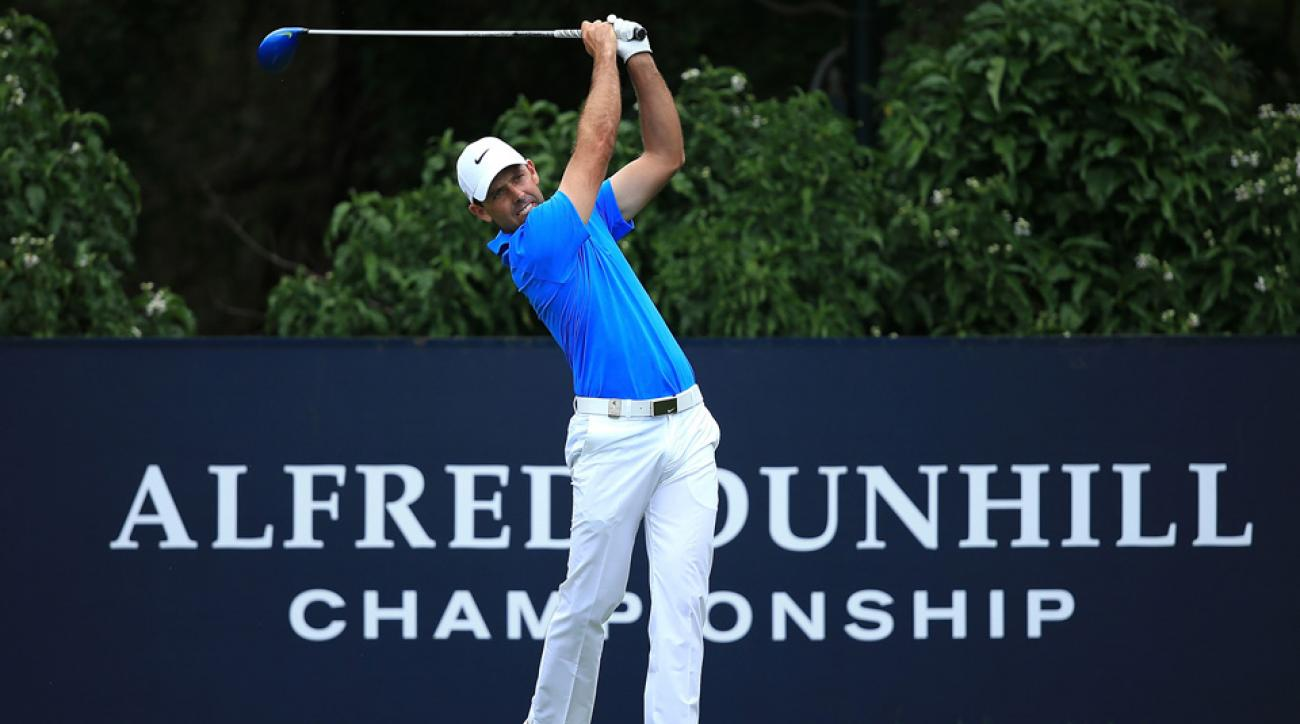Charl Schwartzel tees off during the final round of the Alfred Dunhill Championship at Leopard Creek Country Golf Club on Nov. 29, 2015, in Malelane, South Africa.