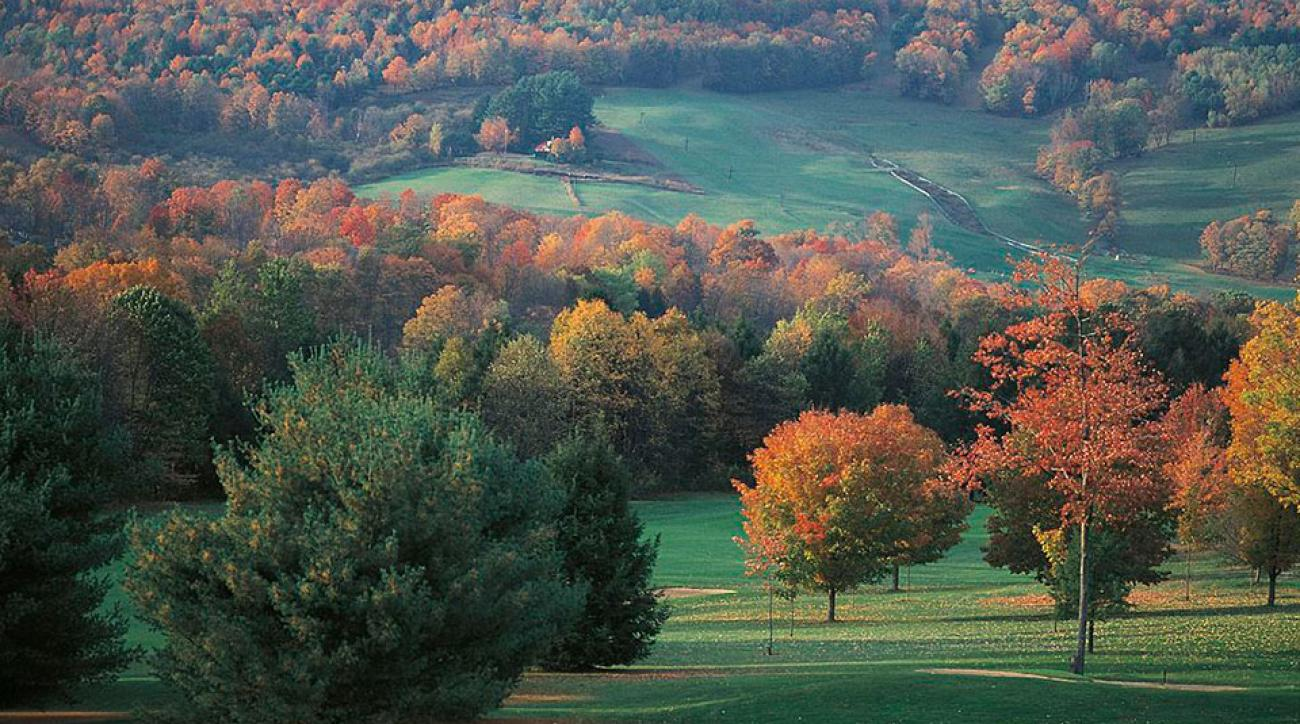 Golf course, autumn colors in New England, Vermont, United States of America.