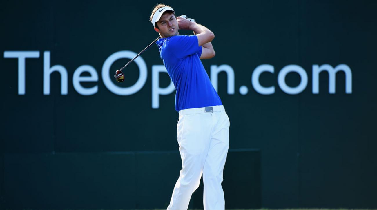 Ashley Chesters of England tees off at the first hole during the first round of The 143rd Open Championship at Royal Liverpool on July 17, 2014 in Hoylake, England.