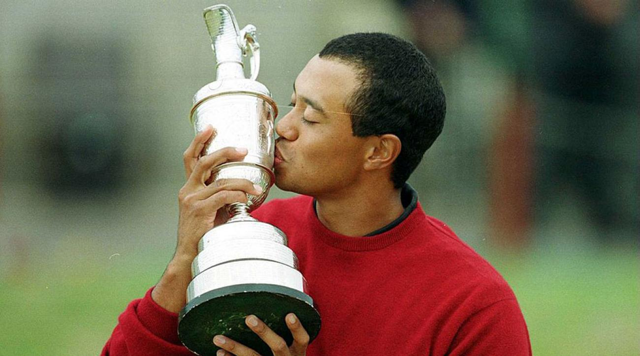 Tiger Woods with the trophy after winning the 2000 British Open Golf Championships at the Old Course, St Andrews, Scotland.