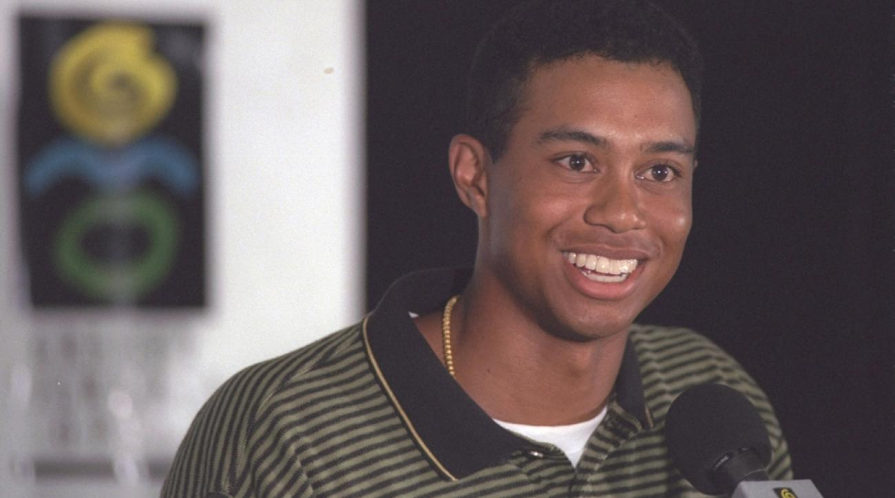 Tiger Woods speaks with charisma to an attentive audience during the Greater Milwaukee Open at the Brown Deer Park Golf Course on Aug. 28, 1996, in Glendale, Wisconsin.