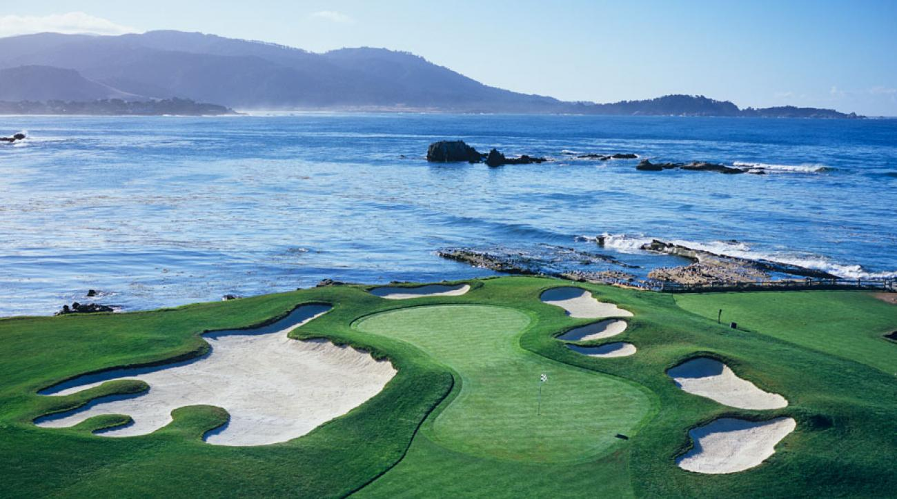 A view of the 17th hole at Pebble Beach Golf Links in Pebble Beach, California.