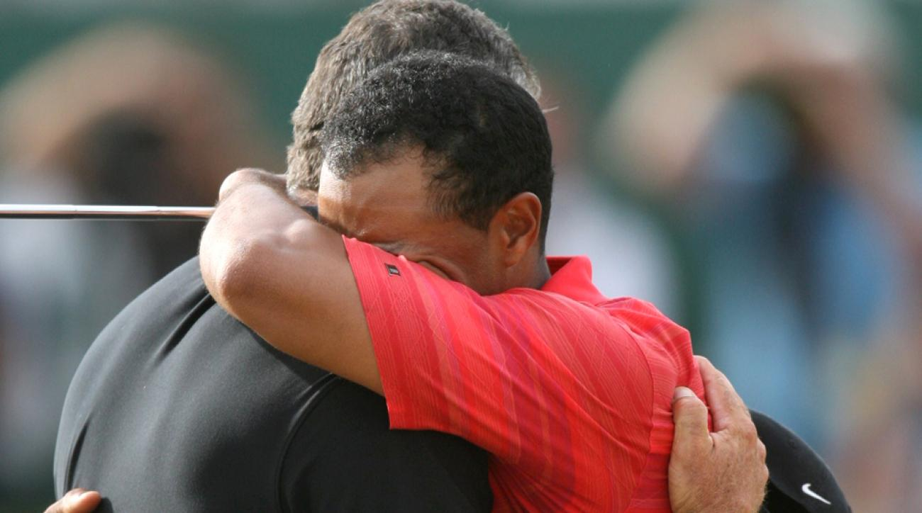 Tiger Woods cries and hugs caddie Steve Williams after winning the British Open on July 23, 2006, at Royal Liverpool.
