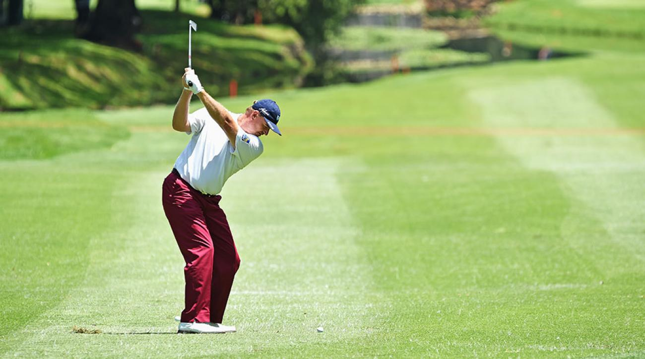 Ernie Els of South Africa plays a shot during the final round of the South African Open at Glendower Golf Club on January 11, 2015 in Johannesburg, South Africa.