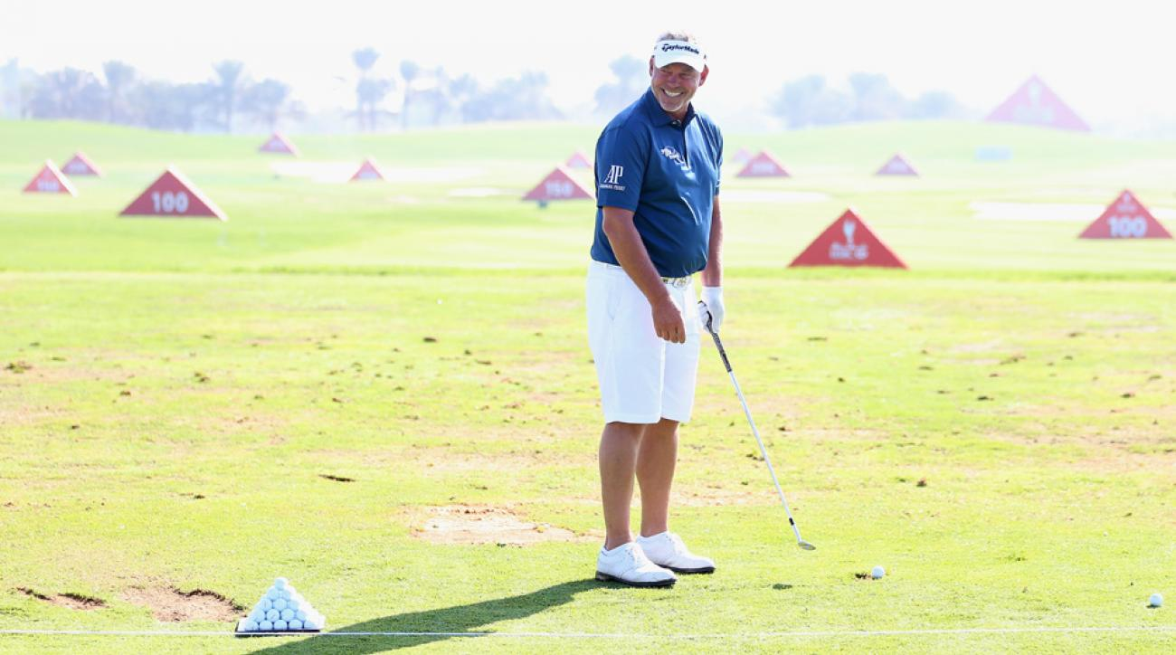 Darren Clarke of Northern Ireland is pictured wearing shorts during practice prior to the start of the Abu Dhabi HSBC Golf Championship at the Abu Dhabi Golf Cub on January 19, 2016, in Abu Dhabi, United Arab Emirates.