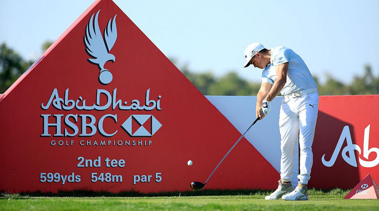 Rickie Fowler of the United States in action during the pro-am as a preview for the 2016 Abu Dhabi HSBC Golf Championship at the Abu Dhabi Golf Club.