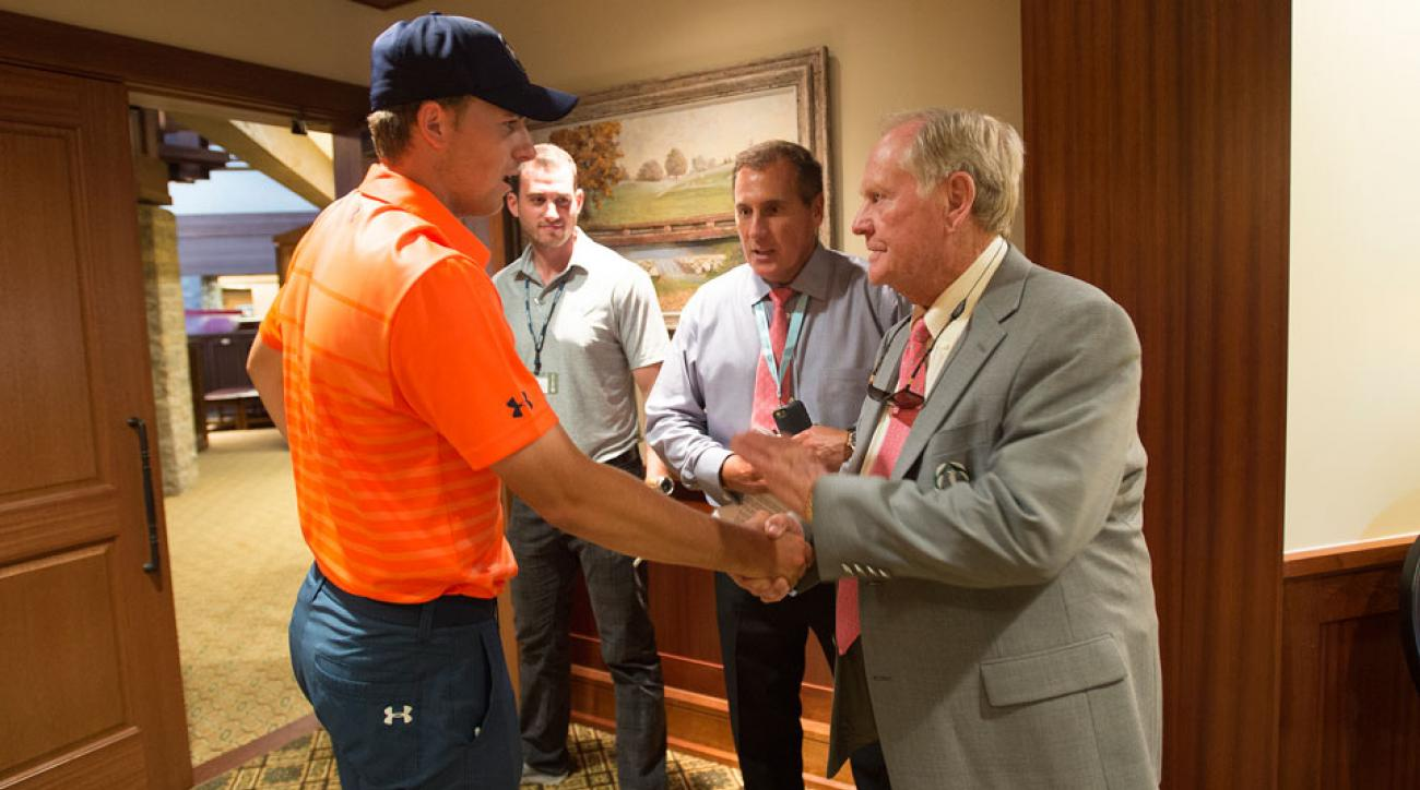 Jack Nicklaus greets Jordan Spieth during the 2015 Memorial Tournament at Muirfield Village.