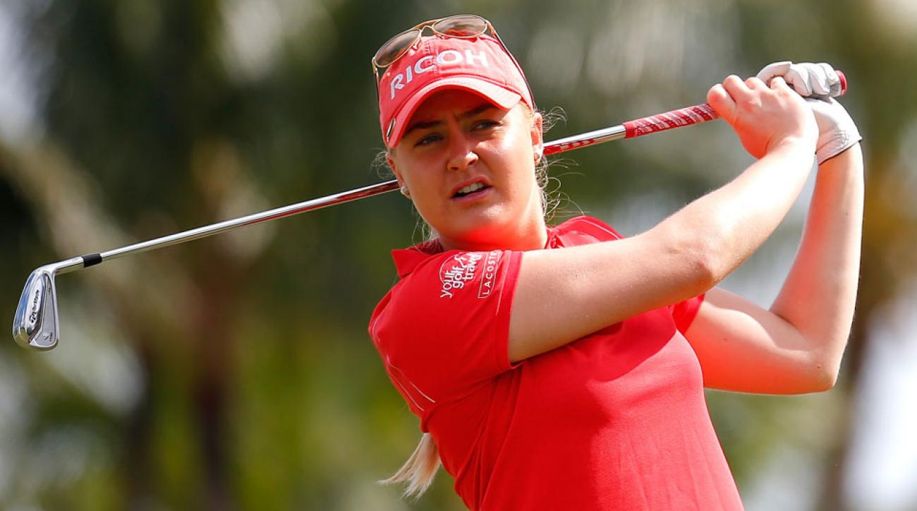 Charley Hull tees off on the second hole during the third round of the Pure Silk-Bahamas LPGA Classic.