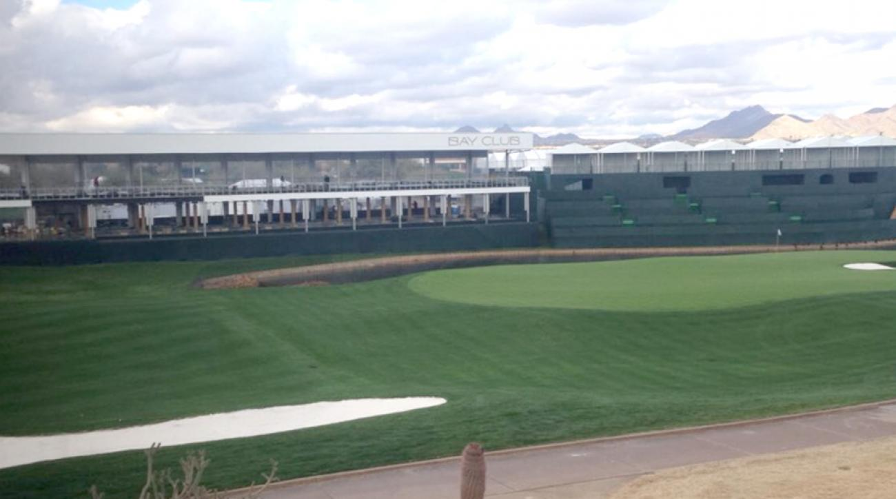A view of the new and improved 17th hole at TPC Scottsdale, which is adopting the party atmosphere of the 16th hole.