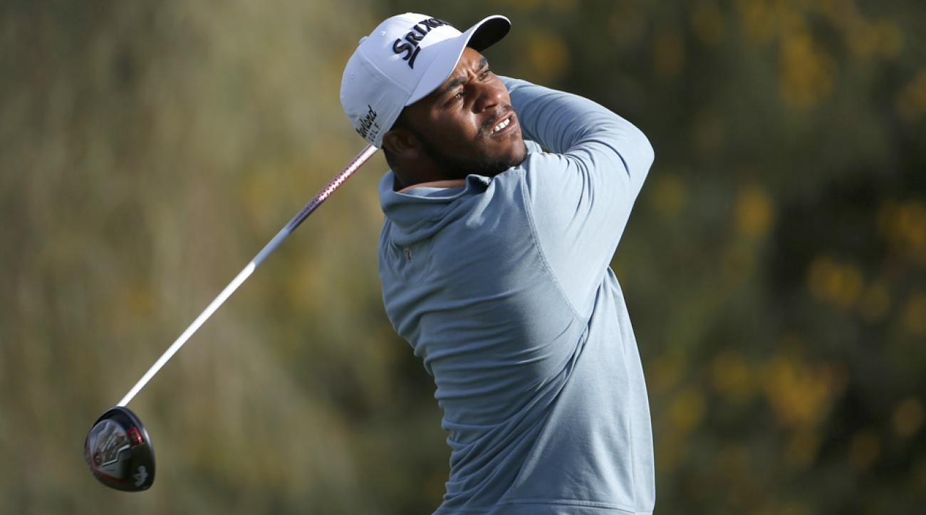 Harold Varner III threw on a Cam Newton jersey on the 16th hole of the Waste Management Phoenix Open at TPC Scottsdale on Feb. 5, 2016, in Scottsdale, Arizona.