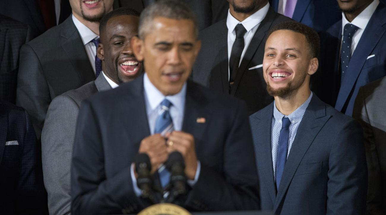 President Barack Obama imitates Steph Curry during his honorary speech for the Golden State Warriors 2015 NBA Championship.