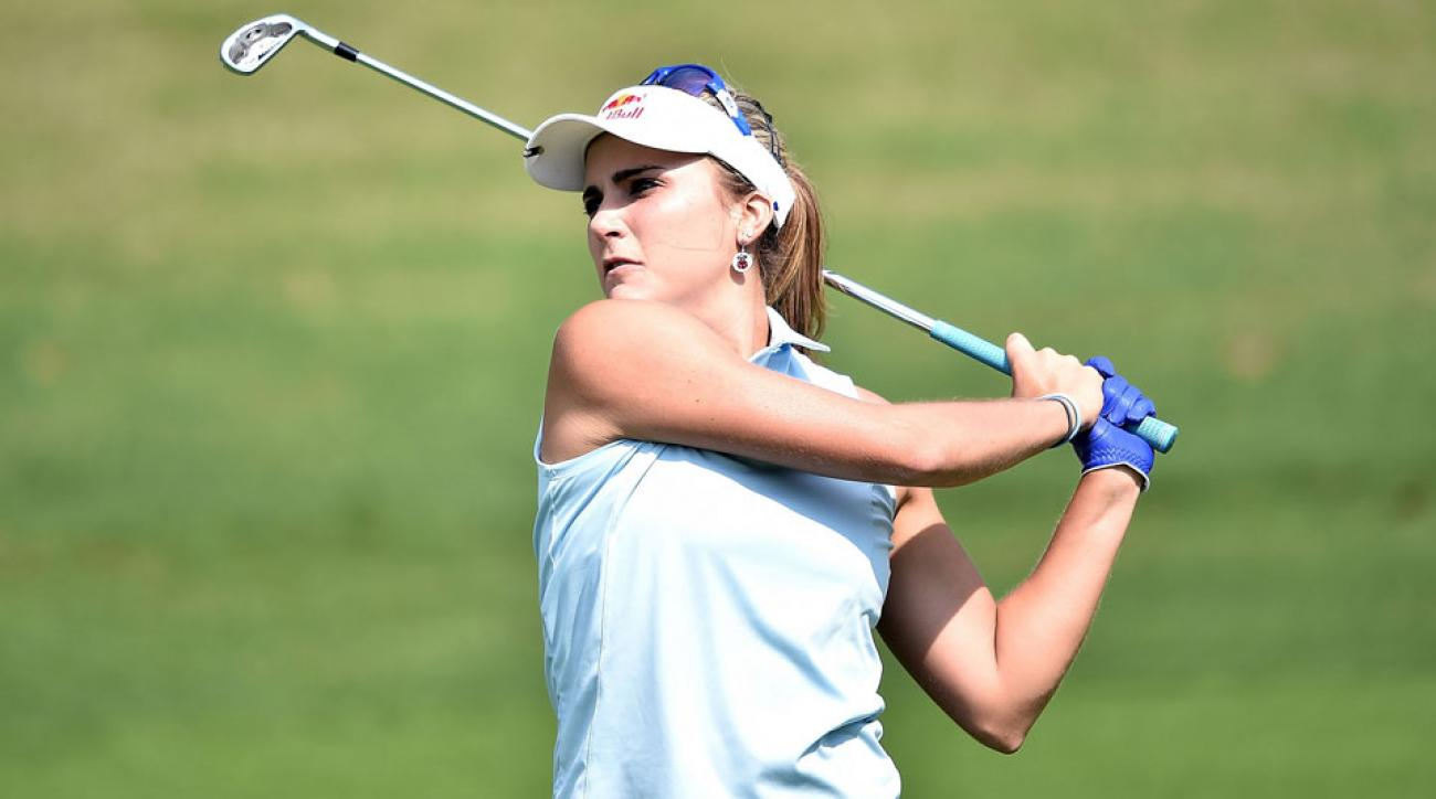 Lexi Thompson plays a shot during the opening round of the 2016 Honda LPGA Thailand at Siam Country Club.