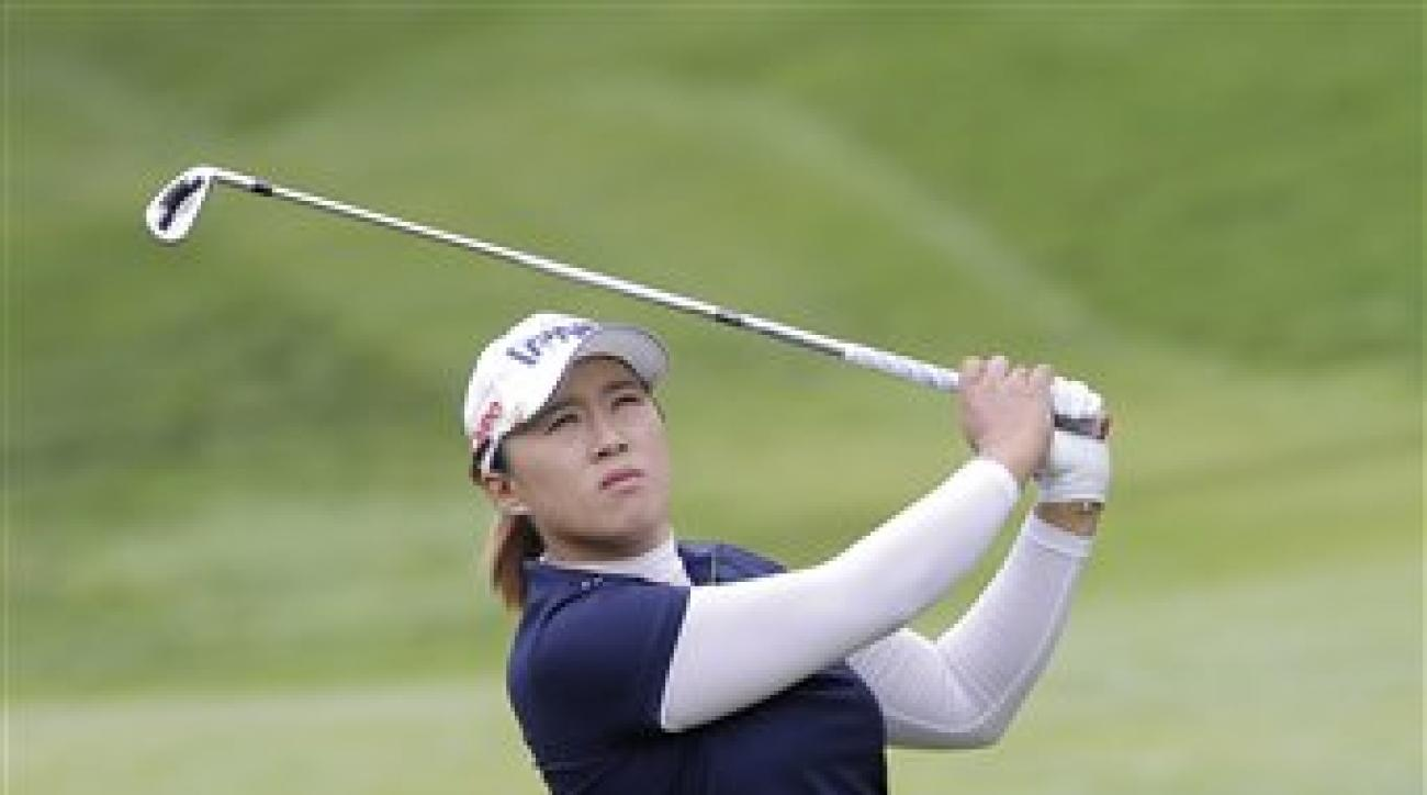 Amy Yang, of South Korea, plays on the 4th hole during the last round of the Evian Championship women's golf tournament in Evian, eastern France, Sunday, Sept. 13, 2015. (AP Photo/Laurent