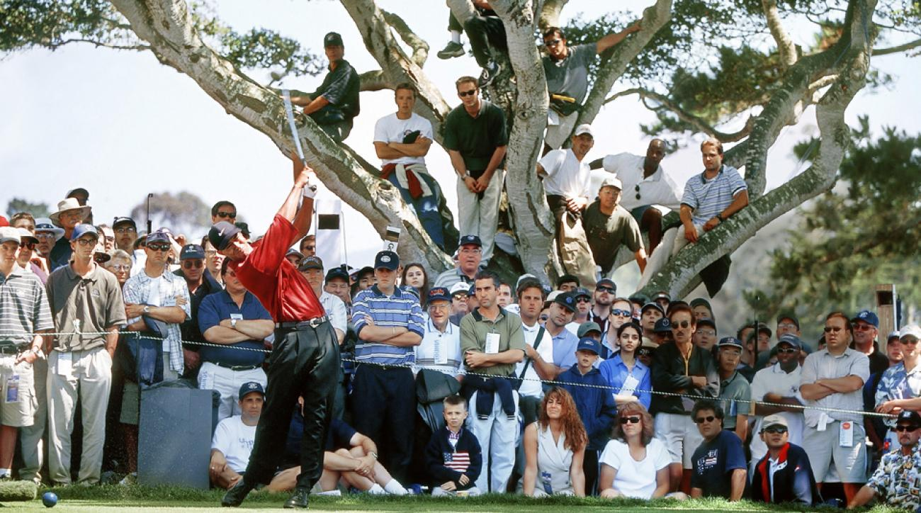 Tiger Woods hits from the tee on the 13th hole during final round of the 2000 U.S. Open at Pebble Beach.