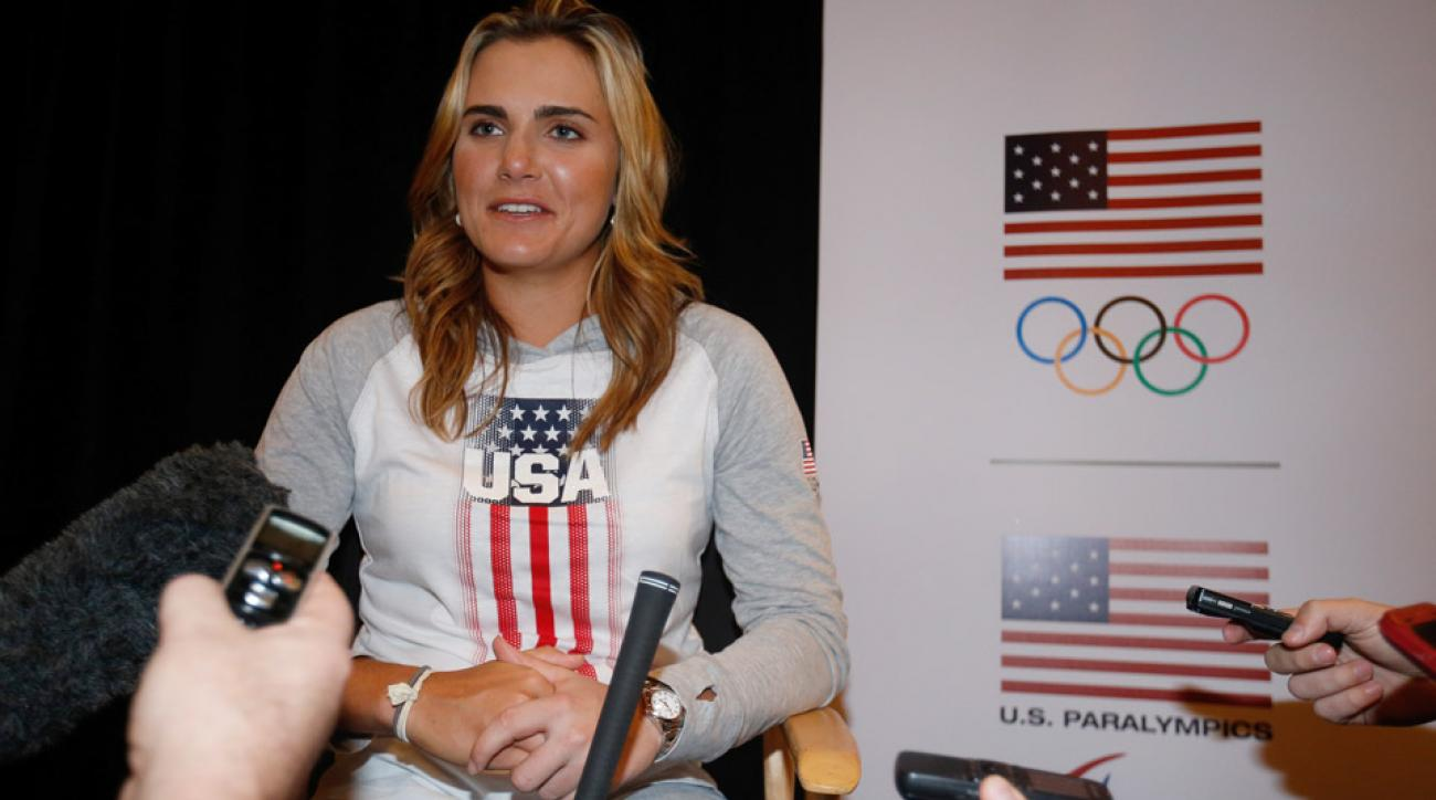 Lexi Thompson addresses the media at the USOC Olympic Media Summit at The Beverly Hilton Hotel on March 7, 2016