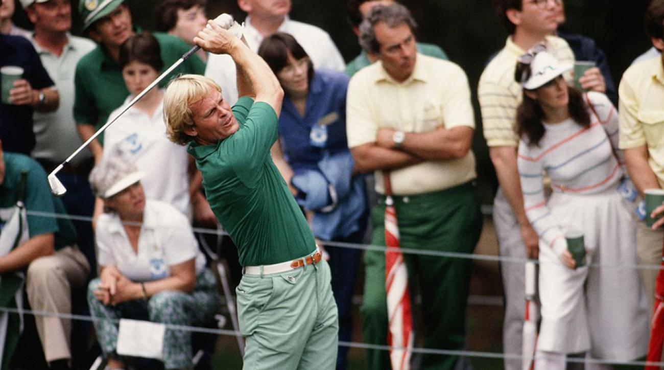 Johnny Miller swings during the 1983 Masters Tournament at Augusta National Golf Club in April 1983 in Augusta, Georgia.