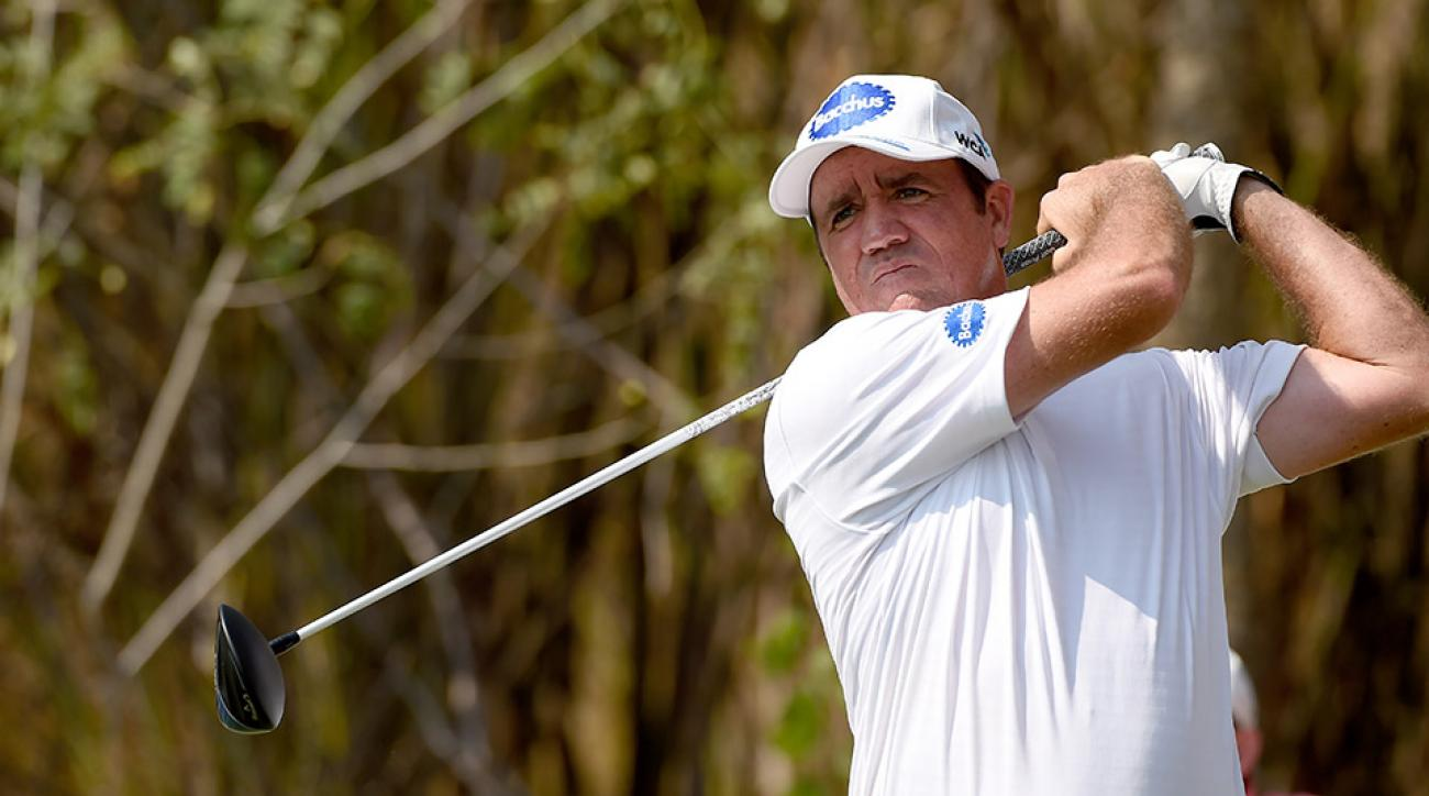 Scott Hend of Australia plays a shot during round three of the True Thailand Classic presented by Chang at Black Mountain Golf Club on March 12, 2016 in Hua Hin, Thailand.