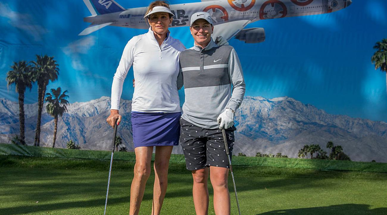 Caitlyn Jenner and Abby Wambach pose for a photo on the 8th hole during the LPGA's ANA Inspiration Pro-Am at Mission Hills Country Club on March 30, 2016 in Rancho Mirage, California.