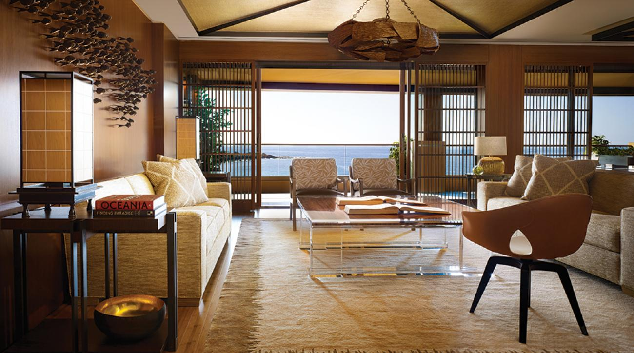 The suite features stunning views of Hulopoe Bay marine sanctuary.