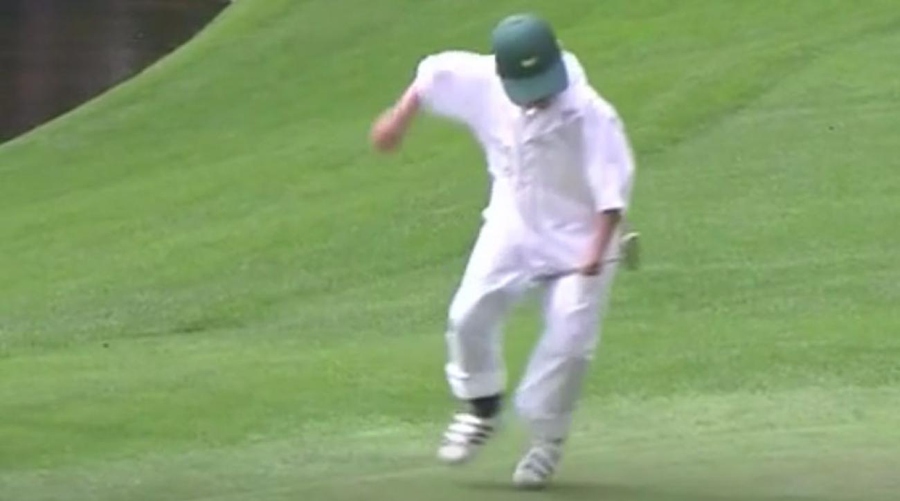 Soren Kjeldson's son did his best Happy Gilmore impression at the Masters Par 3 Contest.