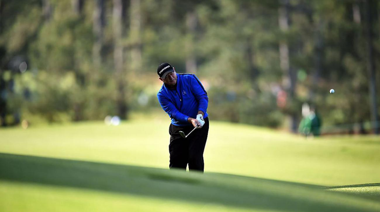 Wales's Ian Woosnam chips on the 2nd hole during Round 2 of the 80th Masters Golf Tournament.