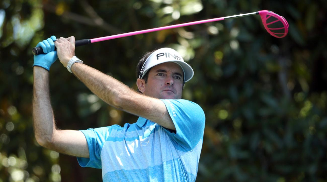 Bubba Watson played with legendary Masters marker Jeff Knox on Saturday at Augusta National Golf Club.