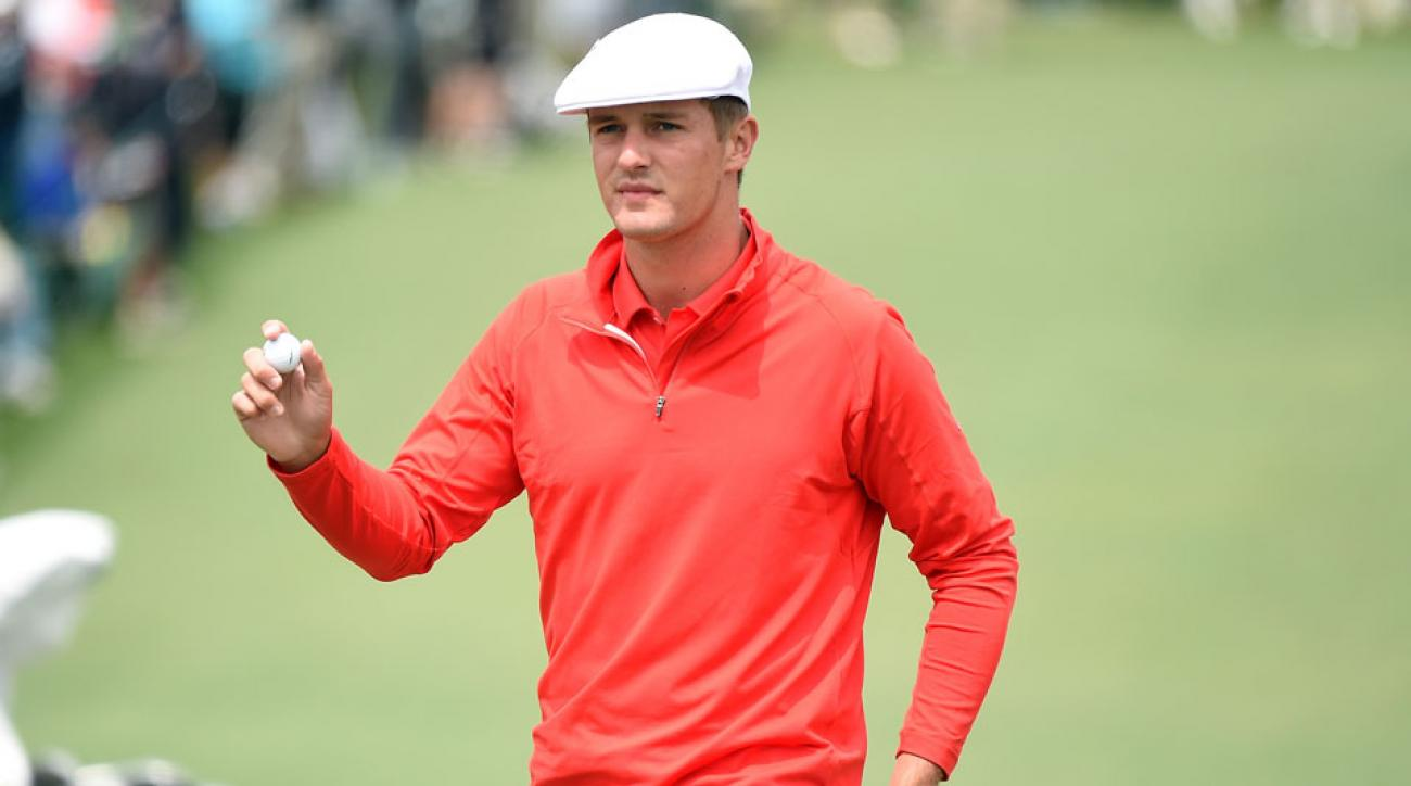 Bryson DeChambeau acknowledges the crowd on the second hole during the final round of the 2016 Masters.
