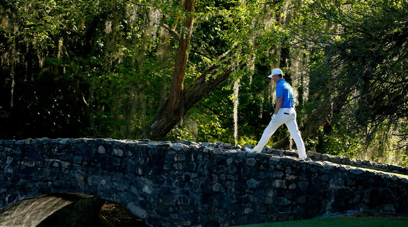 Jordan Spieth carded a 7 on the par-3 12th after putting two balls into Rae's Creek.