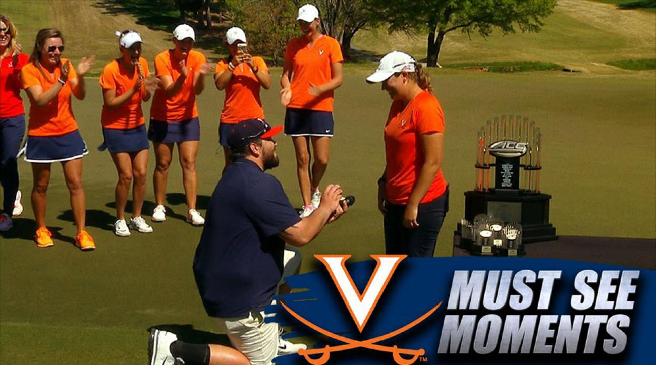 A senior on the University of Virginia golf team got a surprise question just before accepting the individual title at the ACC Women's Golf Championship.