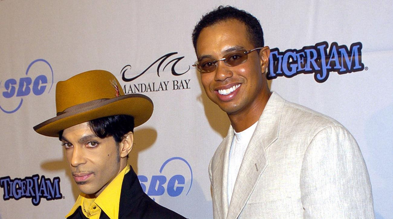 Prince and Tiger Woods on the red carpet at Tiger Jam 2004.