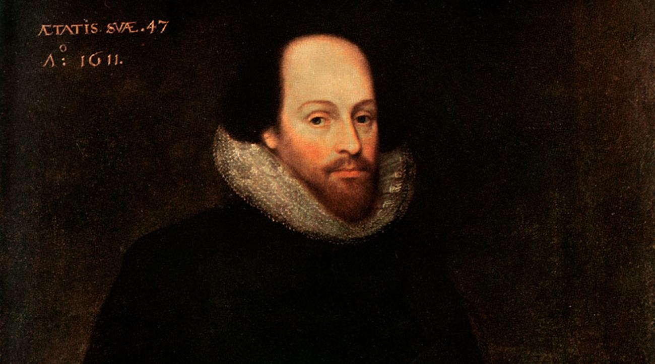 Originally thought to have been of William Shakespeare, the painting is now thought to be a lost Cornelius Ketel portrait of Edward de Vere, 17th earl of Oxford.