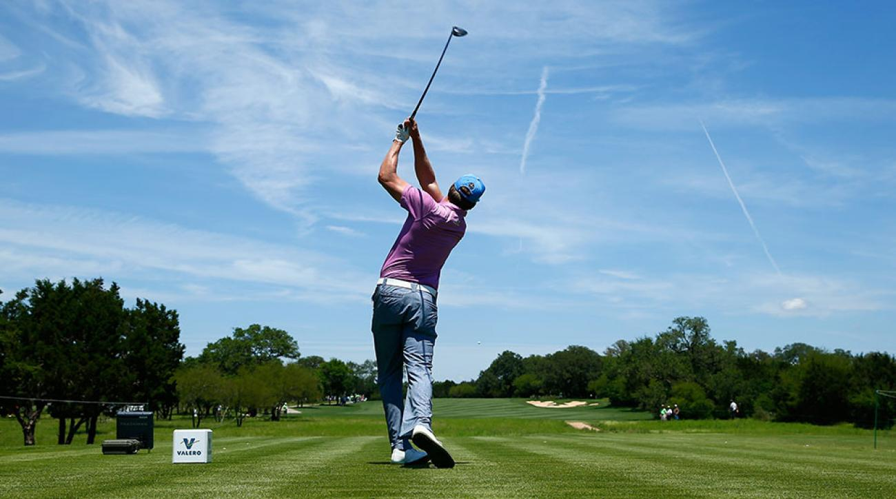 Ricky Barnes tees off on the eighth hole during the third round of the Valero Texas Open at TPC San Antonio AT&T Oaks Course on April 23, 2016.